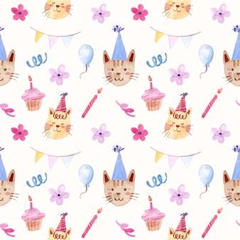 Ładny kot urodziny akwarela bezszwowe wzór