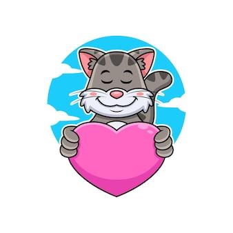 Ładny kot uścisk różowy miłość ilustracja kreskówka. wektor premium