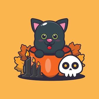 Ładny kot w halloween dynia śliczna halloweenowa ilustracja kreskówka