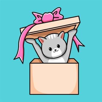 Ładny kot w ilustracja kreskówka pudełko prezent