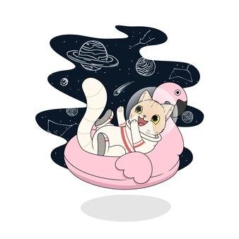 Ładny kot w ilustracji skafandra kosmicznego