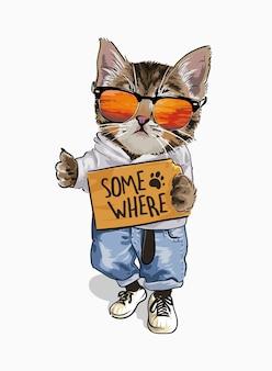 Ładny kot w kostiumie mody trzyma gdzieś znak ilustracji