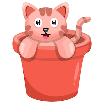 Ładny kot w kreskówce doniczka