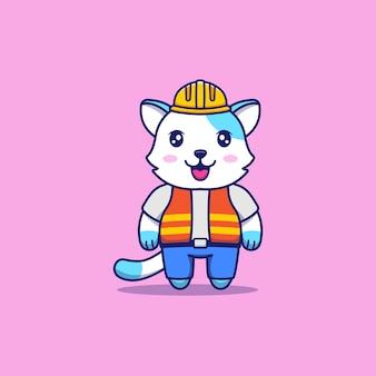 Ładny kot w mundurze pracownika budowlanego