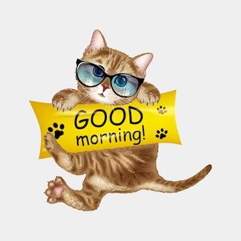 Ładny kot w okularach przeciwsłonecznych dzień dobry