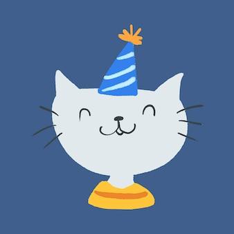 Ładny kot w party hat naklejki wektor, ilustracja uroczystości
