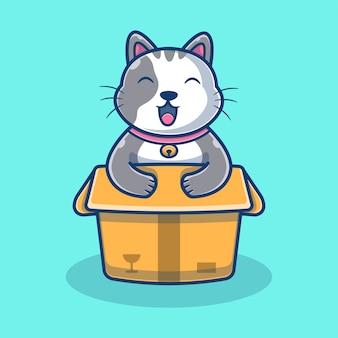 Ładny kot w polu kreskówki ilustracja. zwierzę