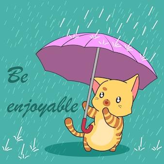 Ładny kot w sezonie monsunowym.