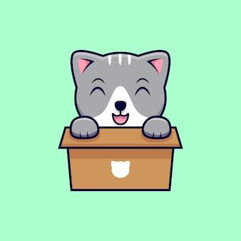 Ładny kot w tekturowym pudełku kreskówka ikona ilustracja. płaski styl kreskówki