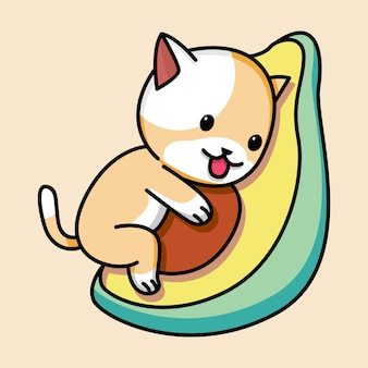 Ładny kot z ilustracją kreskówki awokado