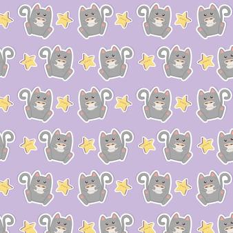 Ładny kot z kawaii kawaii znaków wzór