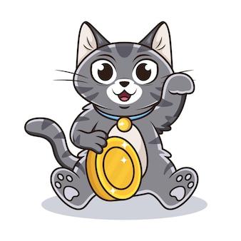 Ładny kot z kreskówkową monetą.