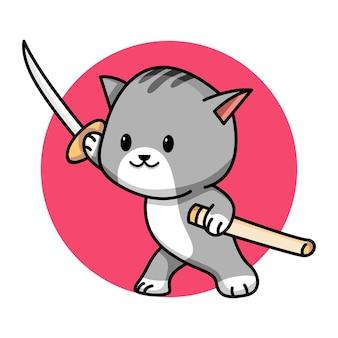 Ładny kot z mieczem ilustracja kreskówka