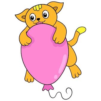 Ładny kot z szczęśliwą buzią przytulanie balon latający, ilustracja wektorowa sztuki. doodle ikona obrazu kawaii.