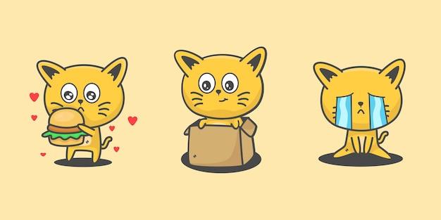 Ładny kot zestaw ilustracji