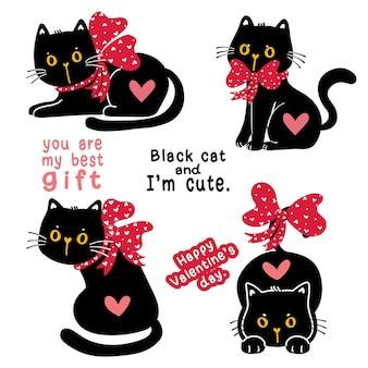 Ładny kotek czarny kot walentynkowy z czerwoną wstążką łuk świąteczny zestaw kolekcja prezentów, doodle ilustracja clipart