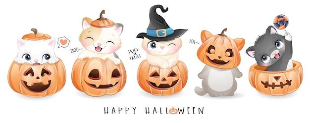 Ładny kotek doodle na dzień halloween z akwarelą ilustracji