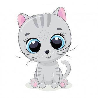 Ładny kotek. ilustracja wektorowa na chrzciny, karty z pozdrowieniami, zaproszenie na przyjęcie, modne ubrania nadruk t-shirt