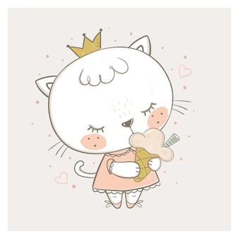 Ładny kotek jedzący lody ręcznie rysowane ilustracji wektorowych może być używany do drukowania koszulki dla dzieci