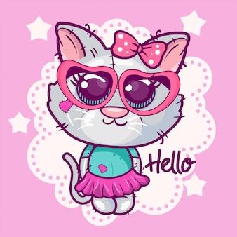 Ładny kotek kreskówka na różowym tle.