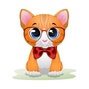 Ładny kotek kreskówka na sobie czerwone okulary i łuk