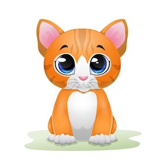 Ładny kotek kreskówka siedzi na trawie