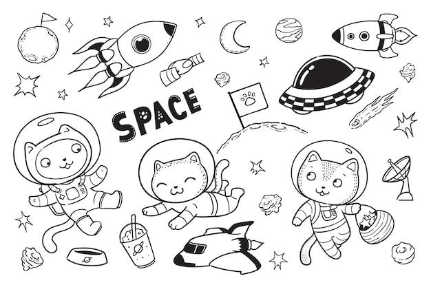 Ładny Kotek W Kosmosie Doodle Premium Wektorów