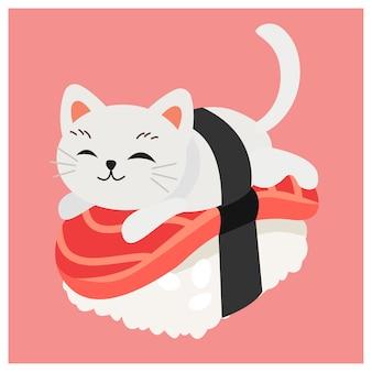 Ładny kotek w sushi, japońskie sushi, tuńczyk sushi.