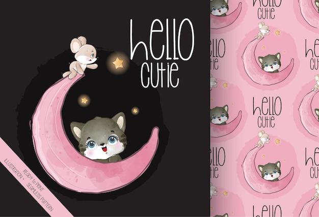 Ładny kotek zwierzę, mysz szczęśliwa na księżycu wzór