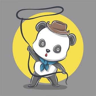 Ładny kowbojski panda ikona ilustracja kreskówka