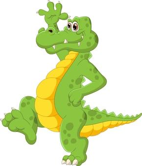 Ładny Kreskówka Krokodyl Stojący I Macha Premium Wektorów
