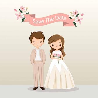 Ładny kreskówka panny młodej i pana młodego na szablon karty zaproszenia ślubne