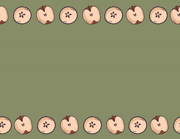 Ładny krojone w pół jabłka naturalny wzór rysowane