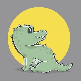 Ładny krokodyl ikona ilustracja kreskówka