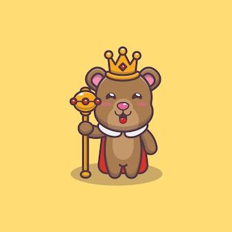 Ładny król niedźwiedź kreskówka wektor ilustracja