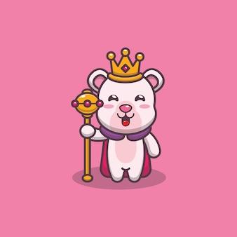 Ładny król niedźwiedź polarny kreskówka wektor ilustracja
