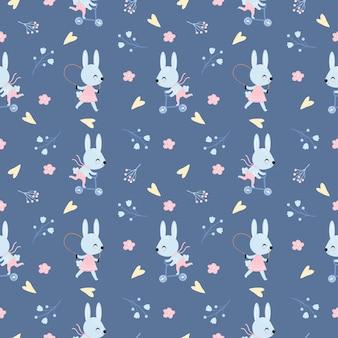 Ładny króliczek chłopiec i dziewczynka gra deskorolka wzór