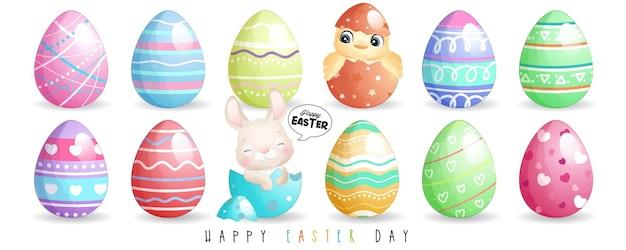 Ładny króliczek doodle i szykowny na szczęśliwy dzień wielkanocy