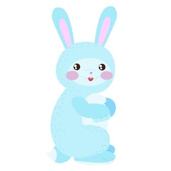 Ładny króliczek niebieski zając zwierzęta leśne słodkie zwierzęta zajączek ilustracji wektorowych