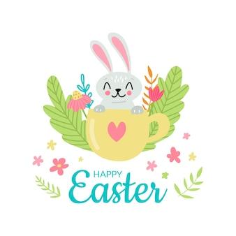 Ładny króliczek wielkanocny w filiżance z ilustracji kwiatów i ziół