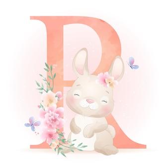 Ładny króliczek z ilustracja kwiatowy