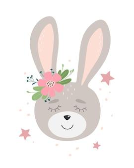 Ładny króliczek z kwiatem i gwiazdami ręcznie rysowane płaskiej ilustracji. dziecinny projekt.