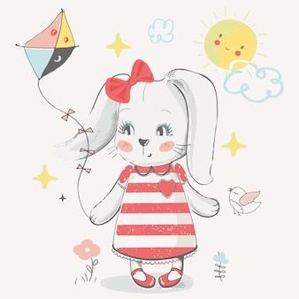 Ładny króliczek z latawcem ręcznie rysowane ilustracji wektorowych może być używany do drukowania koszulki dla dzieci