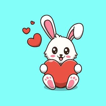 Ładny królik gospodarstwa ilustracja kreskówka miłość