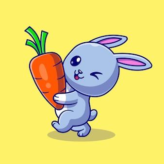 Ładny królik gospodarstwa marchew kreskówka wektor ikona ilustracja. zwierzęca natura ikona koncepcja białym tle premium wektor. płaski styl kreskówki