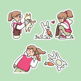 Ładny królik i dziewczyna marchewka ilustracja kreskówka dla stylu naklejki dla dzieci