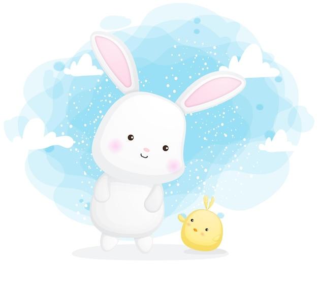 Ładny królik i pisklęta postać z kreskówki