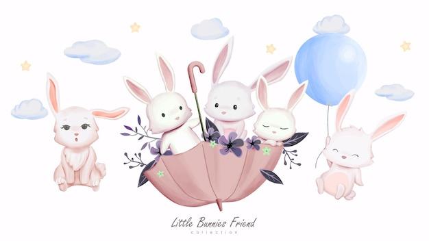Ładny królik i przyjaciele z akwarela ilustracja