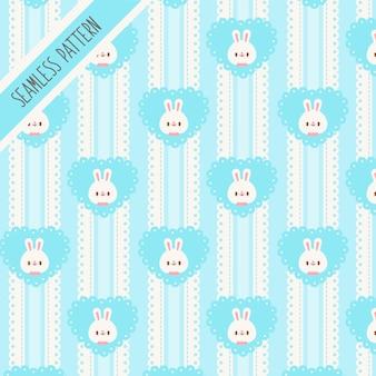Ładny królik i wzór niebieskie serce. ręcznie rysowane króliczek
