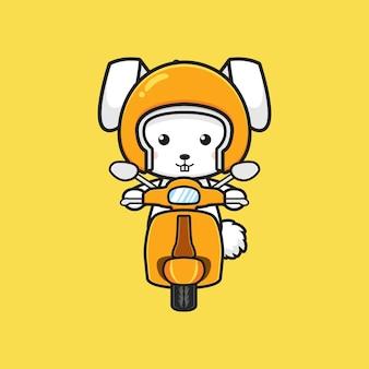 Ładny królik jazda skuterem ikona ilustracja kreskówka. zaprojektuj na białym tle płaski styl kreskówki